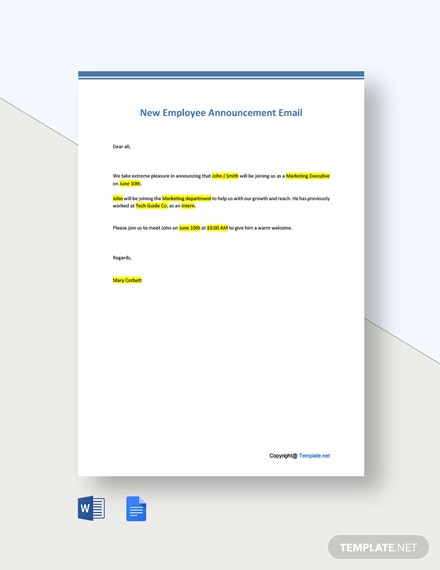 Free Editable New Employee Announcement Email Template