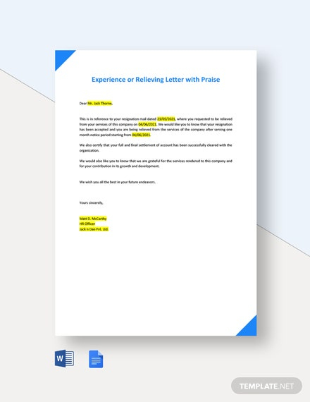 Experience or Relieving Letter with Praise
