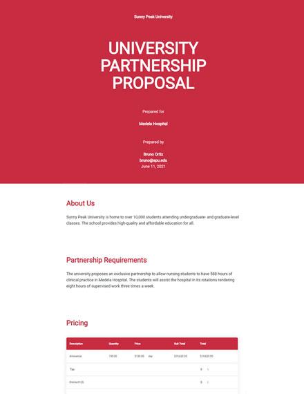 Editable University Partnership Proposal Template