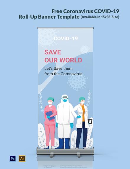 Free Coronavirus COVID-19 Roll-Up Banner Template