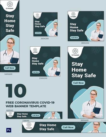 Free Coronavirus COVID-19 Web Banner Template