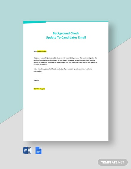 Background Check Update To Candidates Email Template