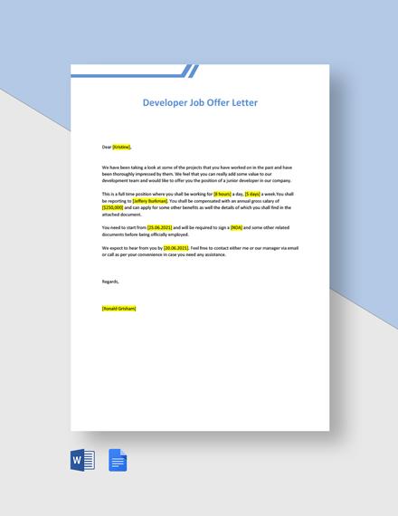 Developer Job Offer Letter Template