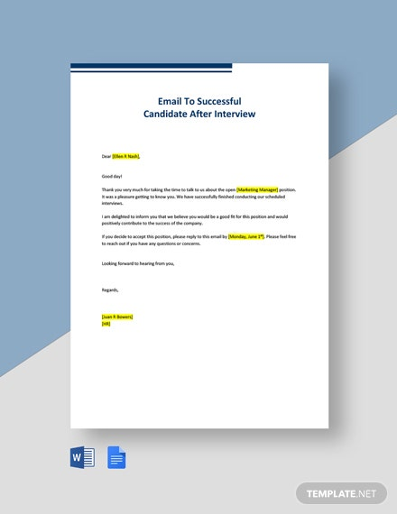 Email To Successful Candidate After Interview Template