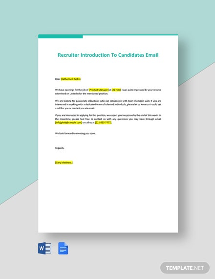 Recruiter Introduction To Candidates Email Template