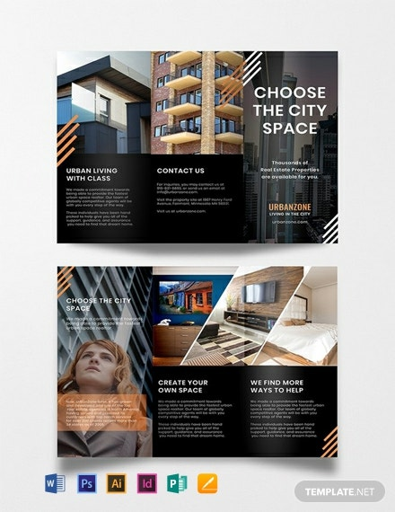 FREE Urban Real Estate Brochure Template - Illustrator, InDesign, Word, Apple Pages, PSD