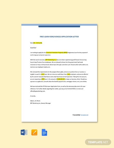 Loan Forgiveness Application Letter Template