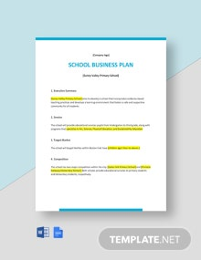 One Page School Business Plan Template