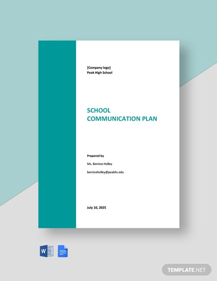 School Communication Plan Template