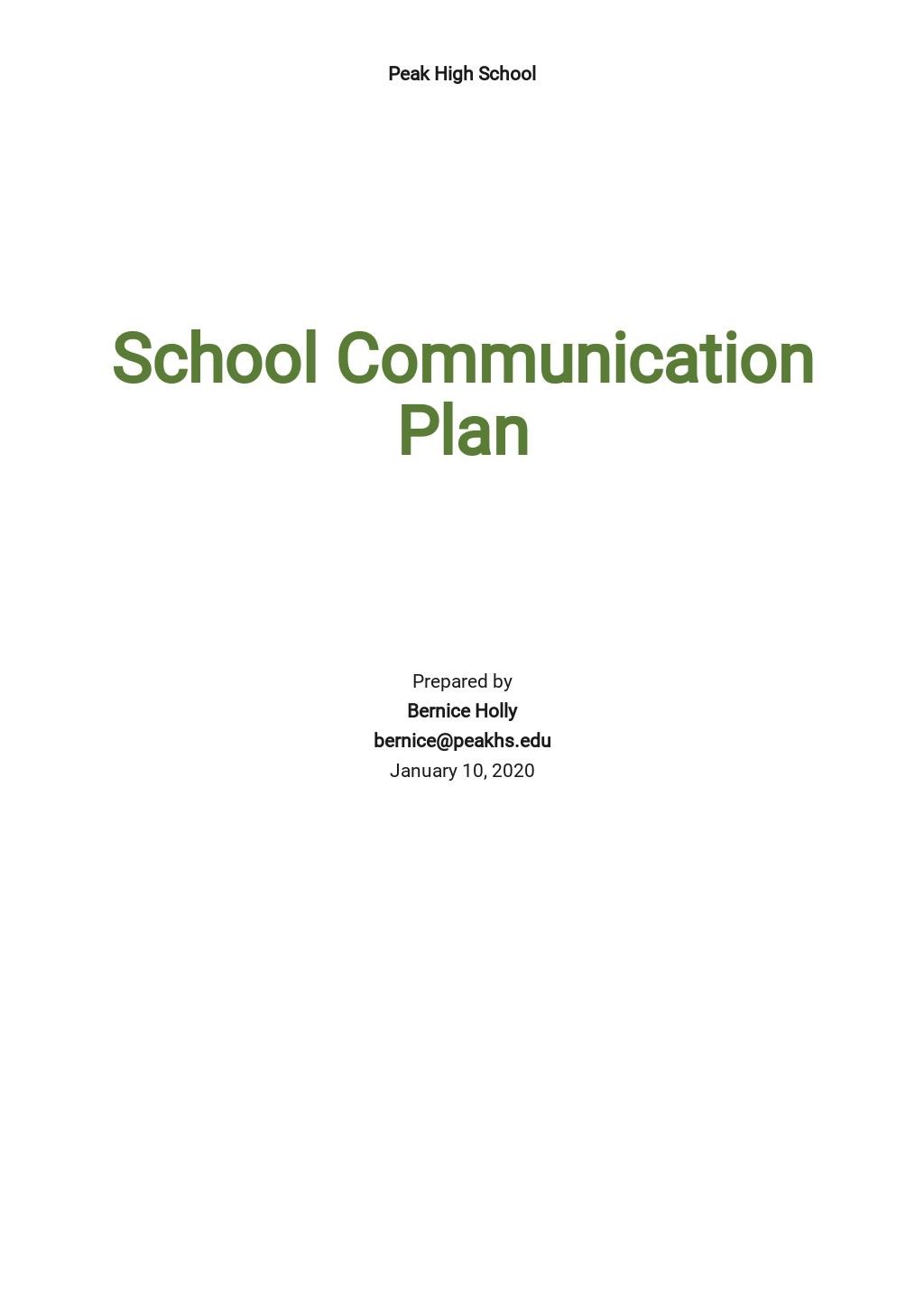 School Communication Plan Template