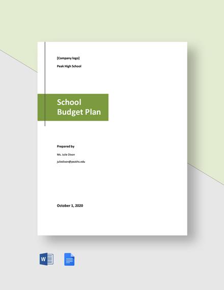 School Budget Plan