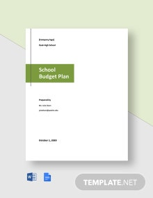 School Budget Plan Template