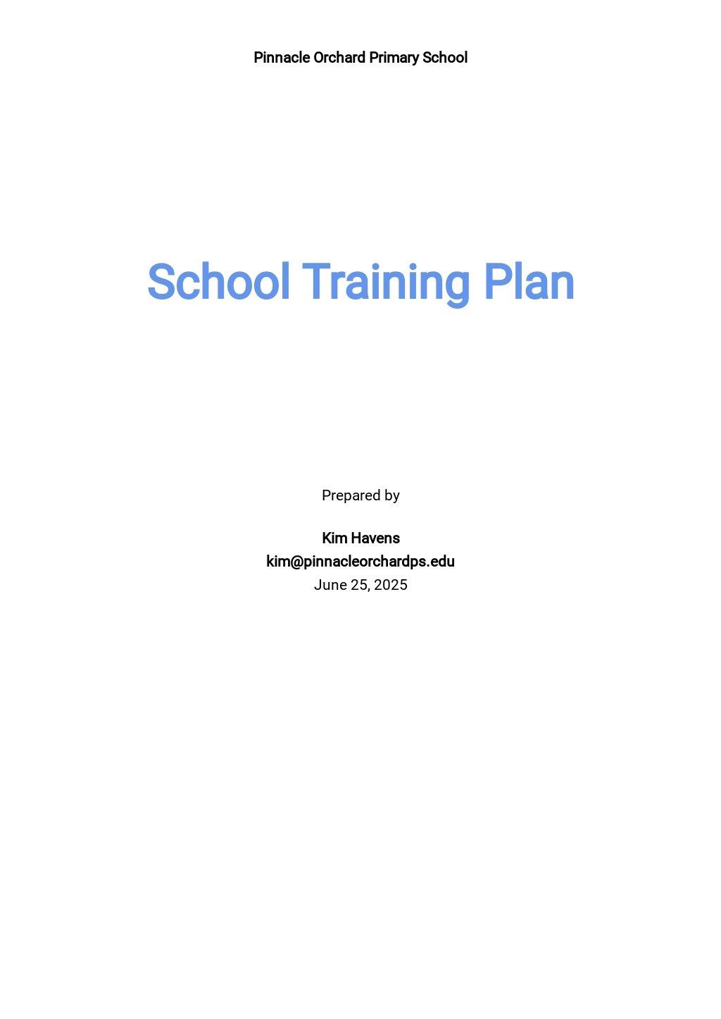 School Training Plan Template