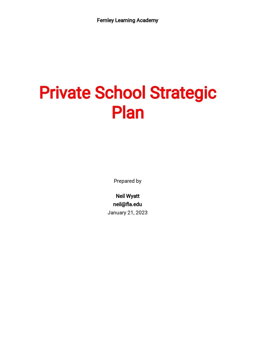 Private School Strategic Plan Template