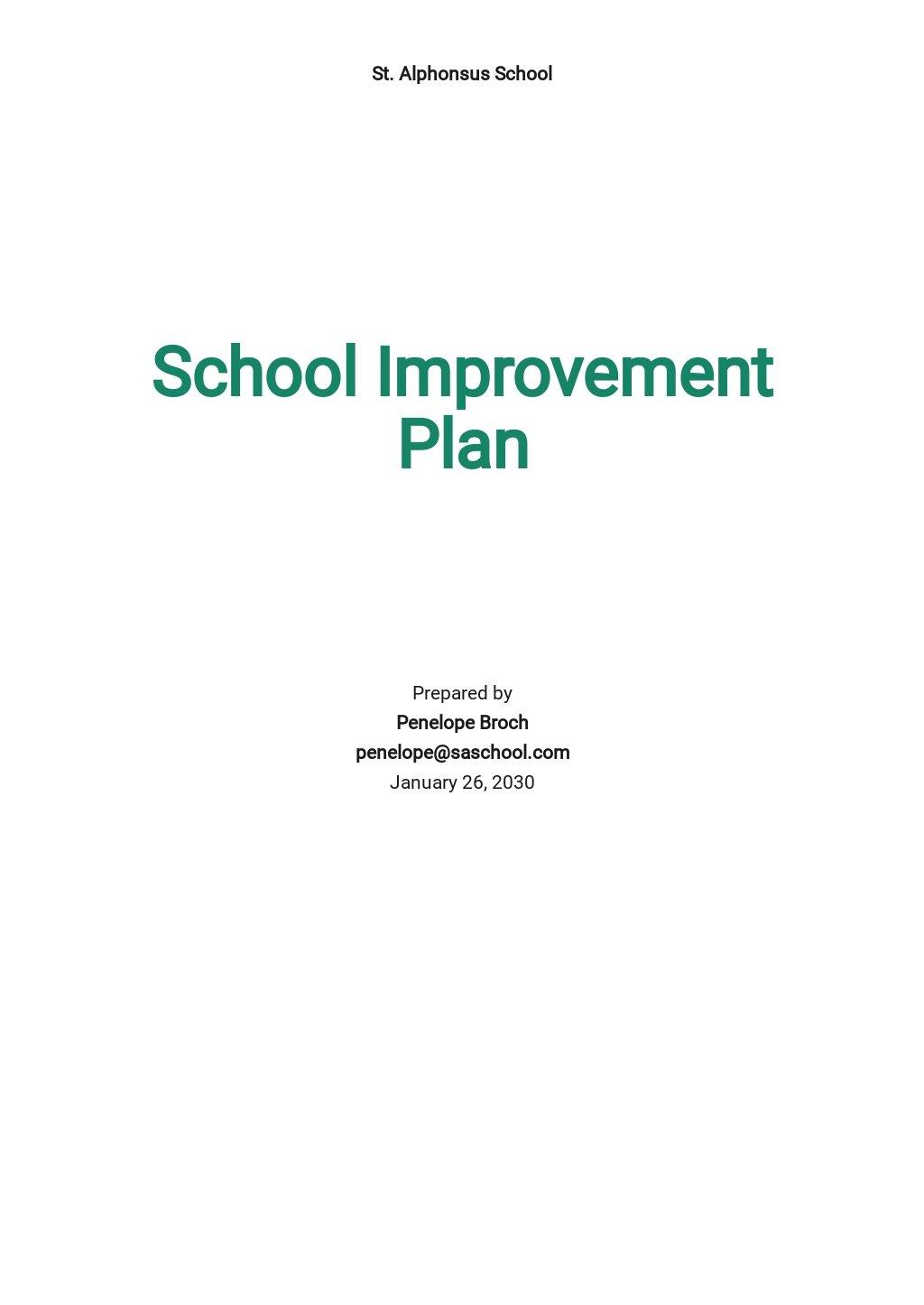 School Improvement Plan Template