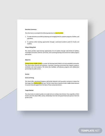 Middle School Business Plan Download