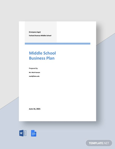 Middle School Business Plan