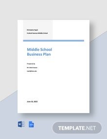 Middle School Business Plan Template