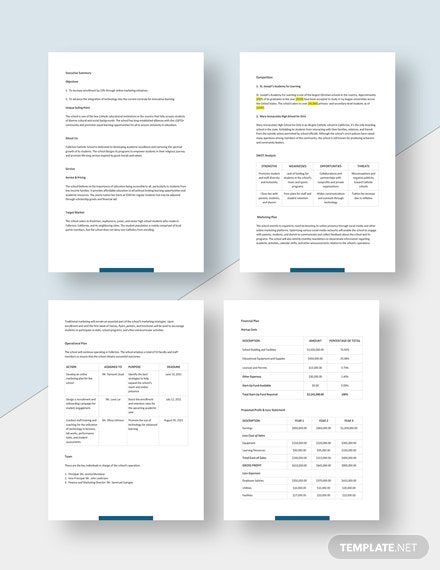 High School Business Plan Template