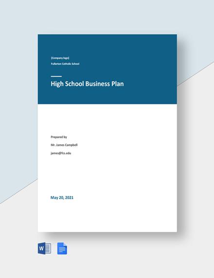 High School Business Plan Template