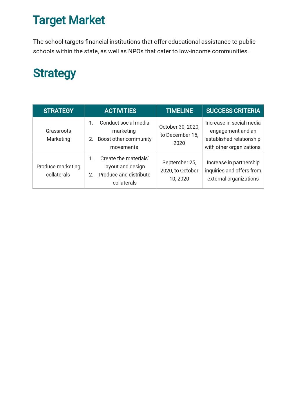 Free Sample School Marketing Plan Template 2.jpe
