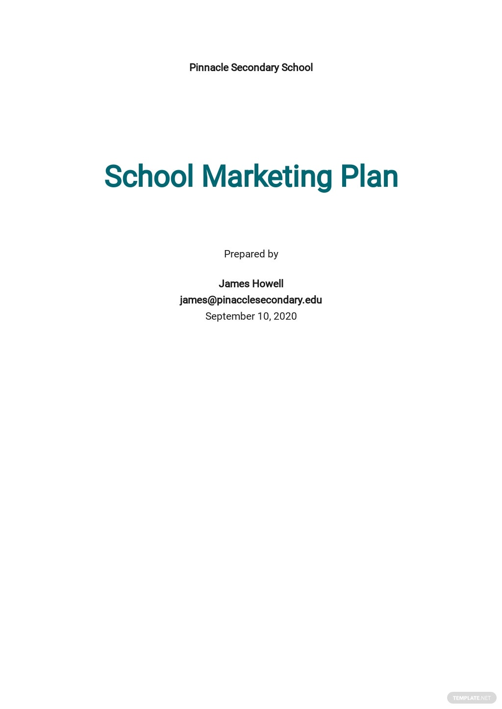 Sample School Marketing Plan Template