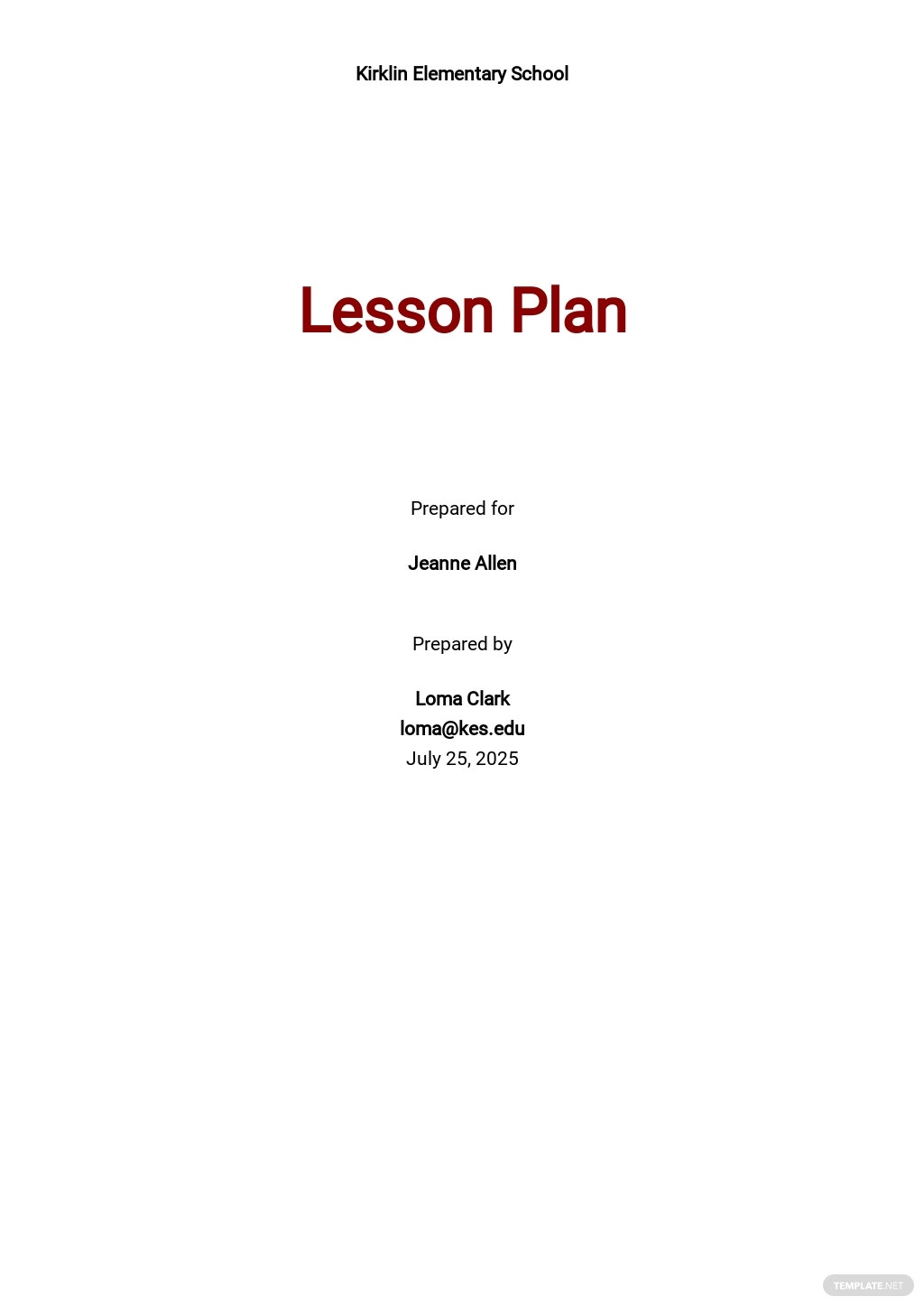 Simple School Lesson Plan Template