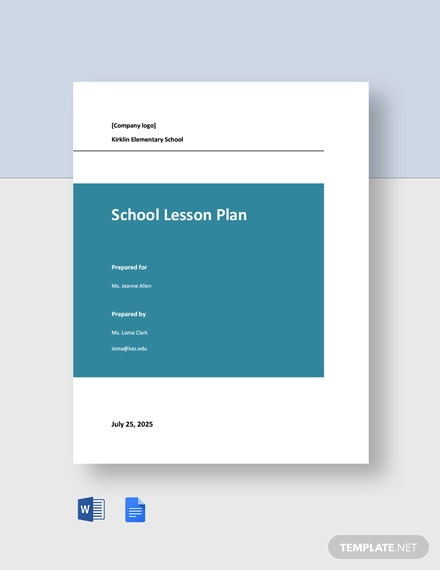 Free Simple School Lesson Plan Template