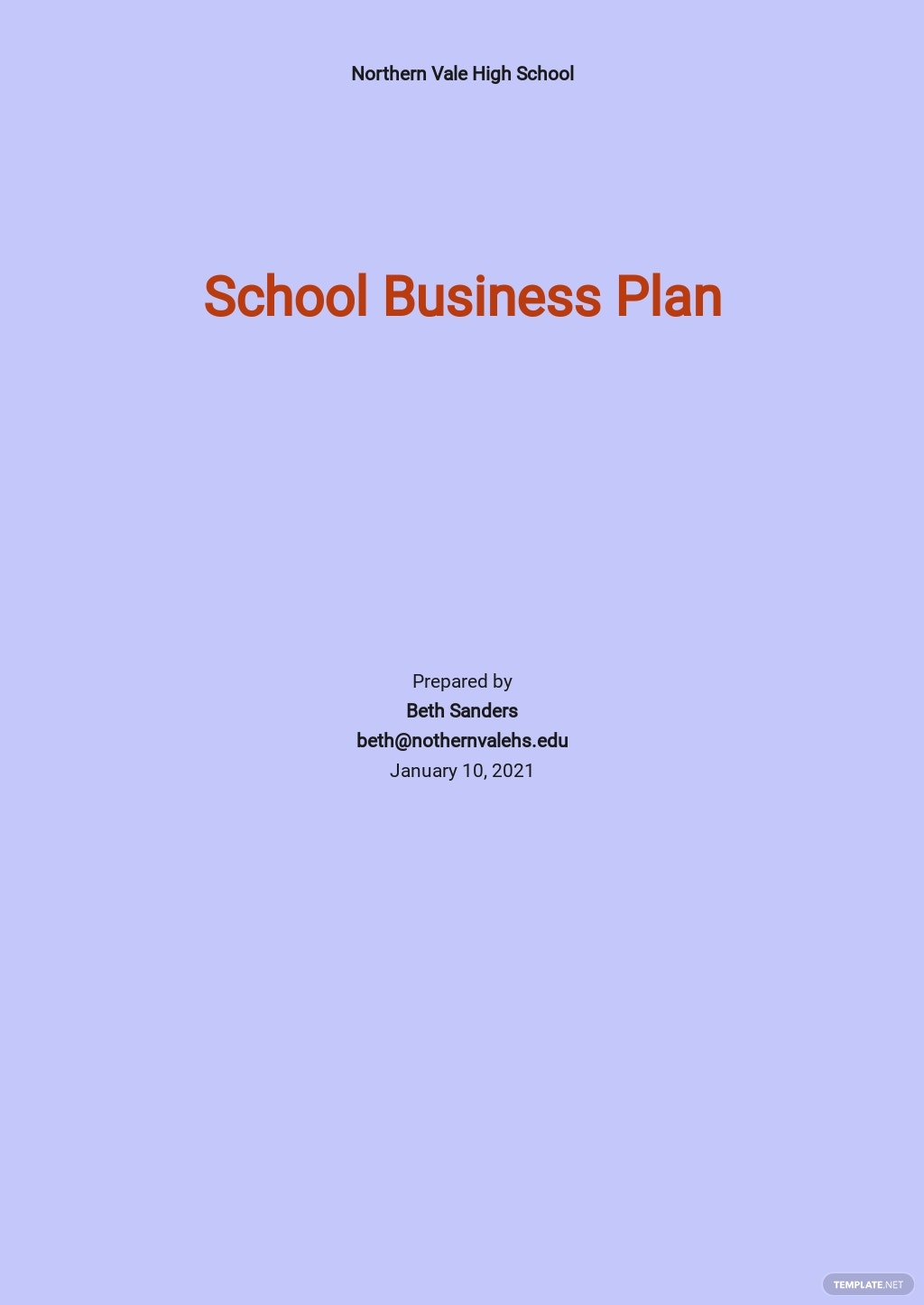 Basic School Business Plan Template