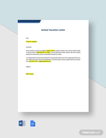 School Vacation Letter Template