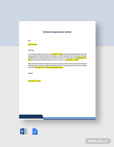 School Suspension Letter Template