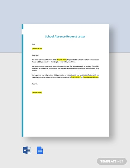 School Absence Request Letter Template