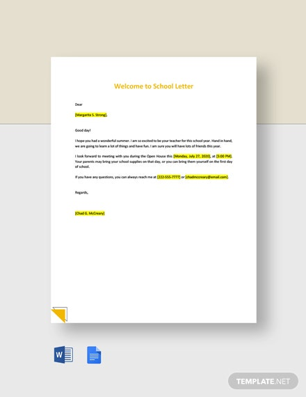 Welcome to School Letter Template