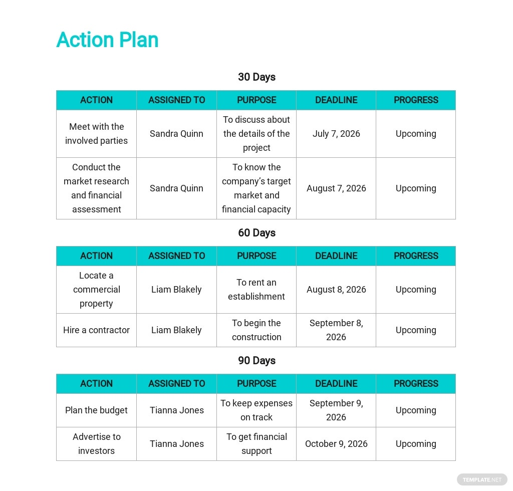 Free 30 60 90 Day Action Plan Template 3.jpe