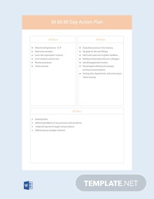 Free 30 60 90 Day Action Plan Template