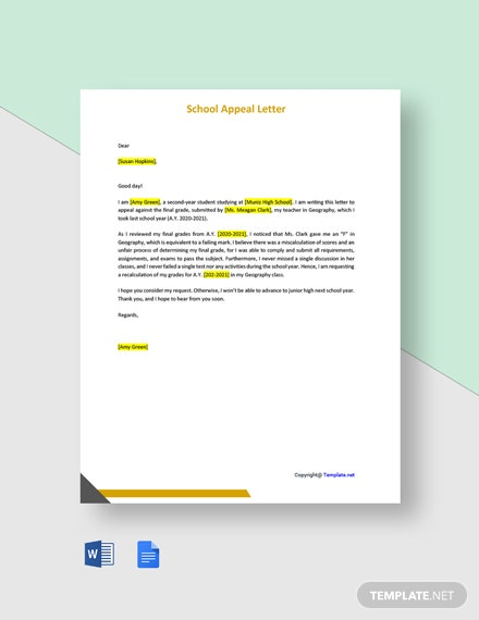 Free Sample School Appeal Letter Template