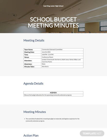 School Budget Meeting Minutes Template