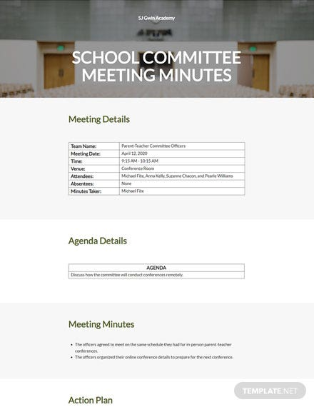 School Committee Meeting Minutes Template