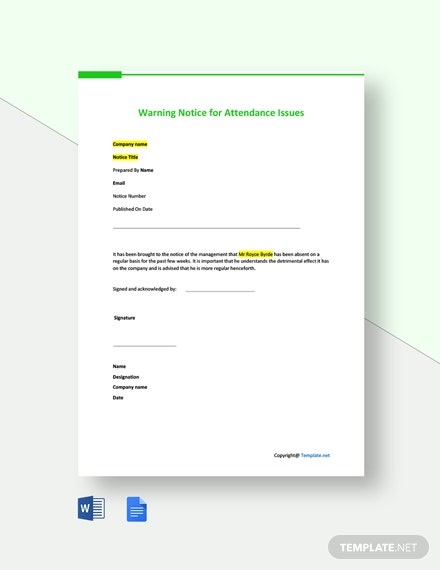 Free Warning Notice for Attendance Issues Template