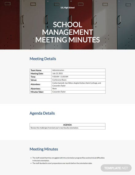 School Management Meeting Minutes Template
