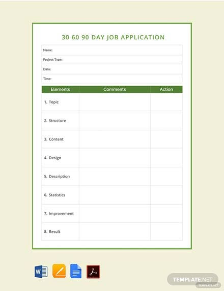 Free 30 60 90 Day Job Application Template