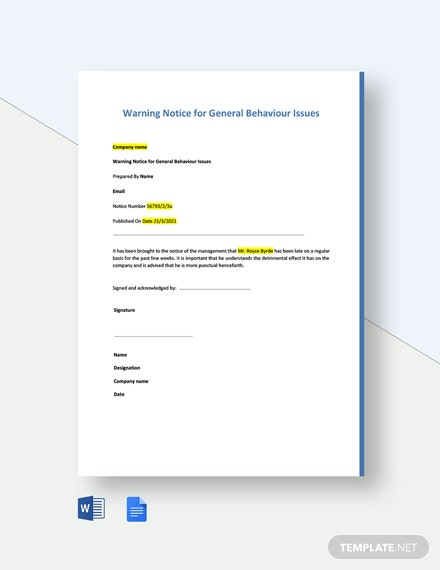 Warning Notice for General Behaviour Issues Template