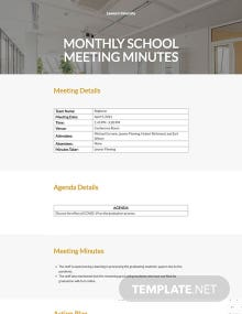 Monthly School Meeting Minutes Template