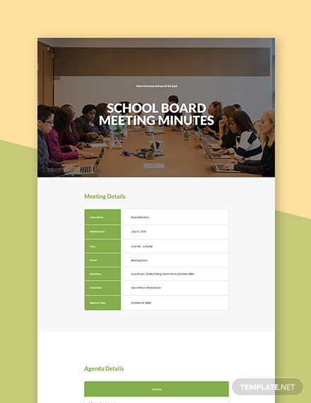 School Board Meeting Minutes Template