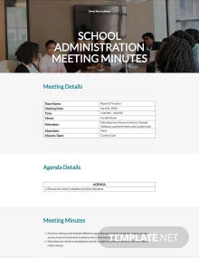 Free Basic School Meeting Minutes Template