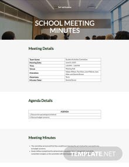 Free Simple School Meeting Minutes Template