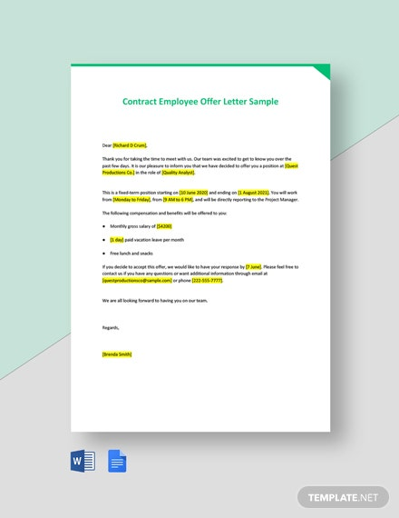 Contract Employee Offer Letter Sample Template