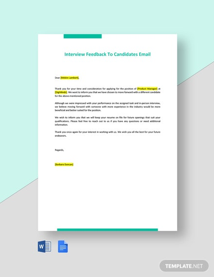 Interview Feedback To Candidates Email Template