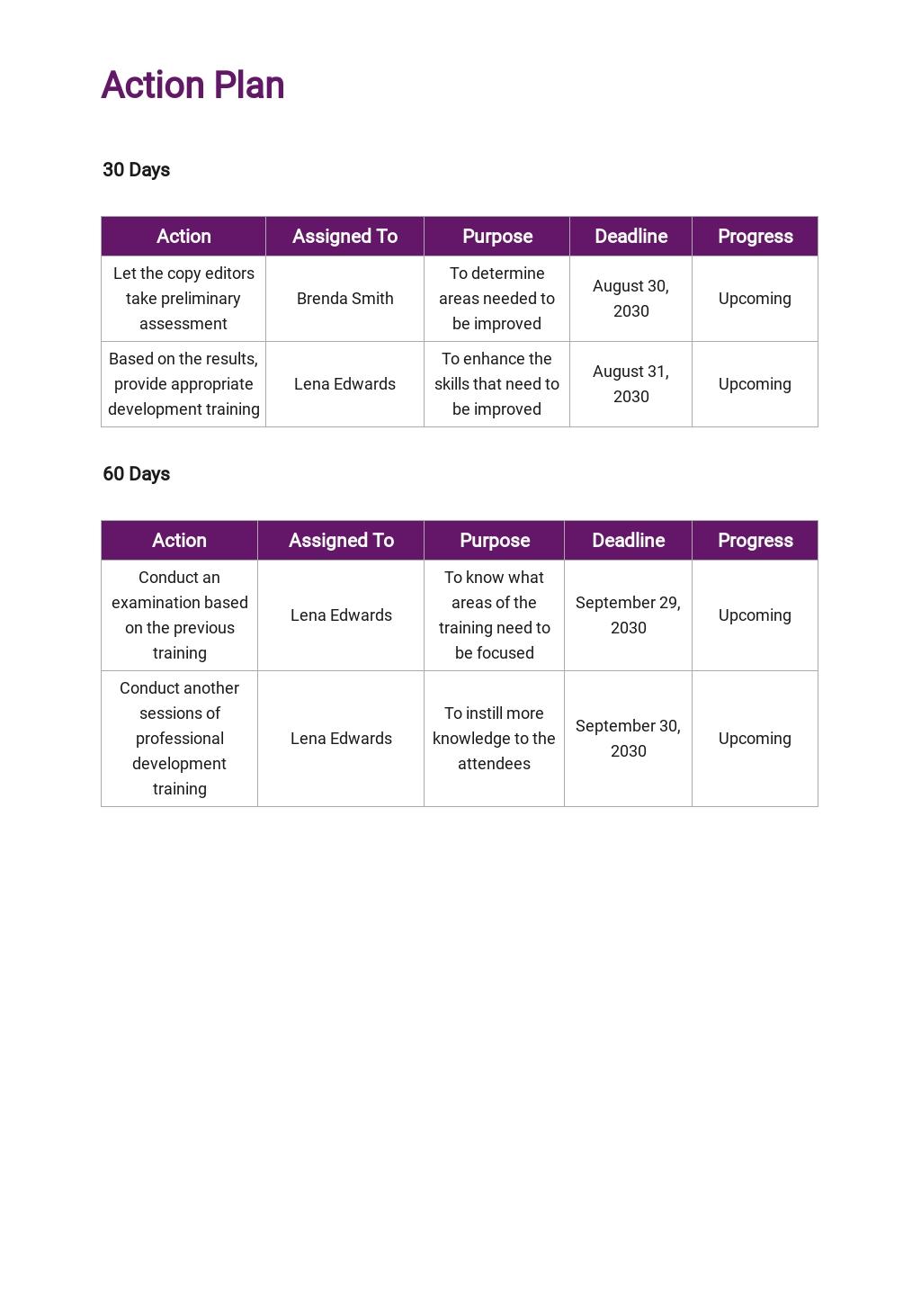 Free 30 60 90 Day Professional Development Plan Template 3.jpe