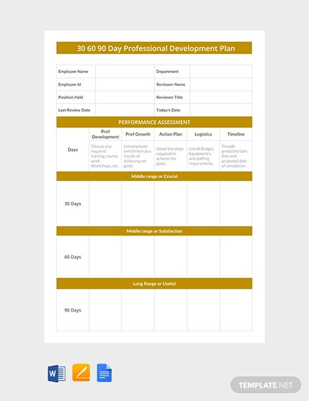 Free 30 60 90 Day Professional Development Plan Template Download